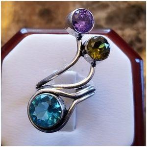Multi-Gem BOHO Ring Size 4
